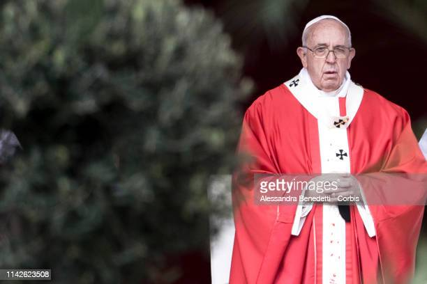 Pope Francis leads Palm Sunday procession and Mass in St Peter's Square on April 14 2019 in Vatican City Vatican Celebrated by Christians across the...