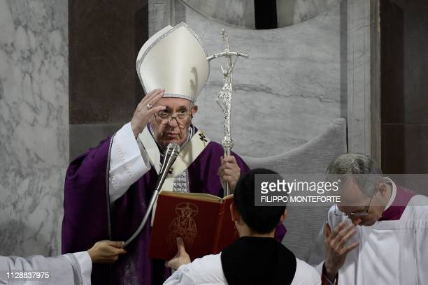 Pope Francis leads the Ash Wednesday mass which opens Lent the fortyday period of abstinence and deprivation for Christians before Holy Week and...
