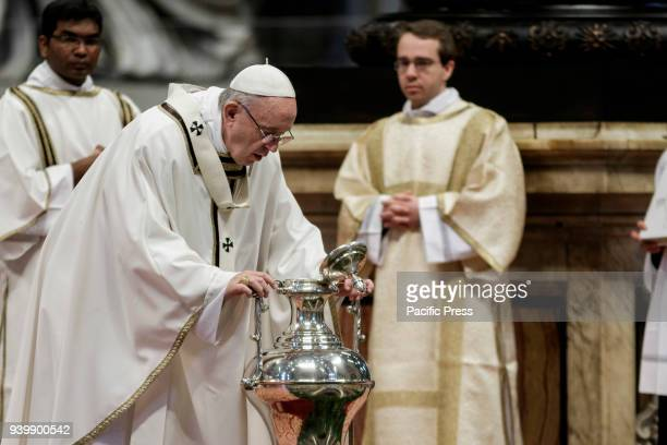S BASILICA VATICAN CITY VATICAN Pope Francis leads the Chrism Mass for Holy Thursday which marks the start of Easter celebrations in St Peter's...