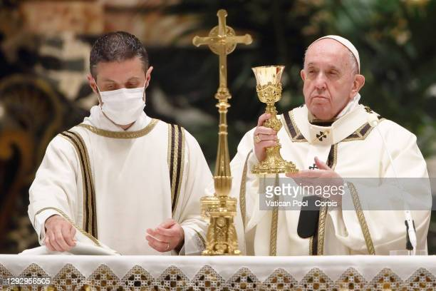 Pope Francis leads the Christmas Night Mass in St. Peter's Basilica on December 24, 2020 in Vatican City, Vatican. This year due to the COVID-19...