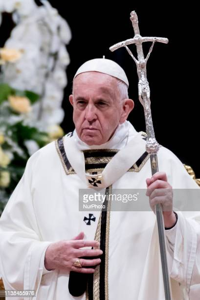 Pope Francis leads the Easter Vigil mass at the Saint Peter's Basilica in Vatican City, 20 April 2019. Christians around the world are marking the...