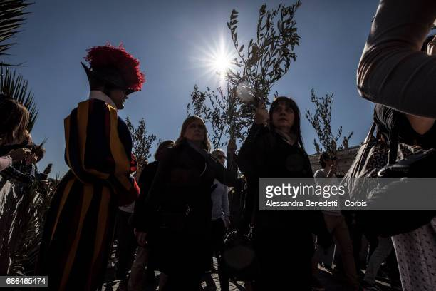 Pope Francis leads the Palm Sunday Procession and Mass in St Peter's Square on April 9 2017 in Vatican City Vatican Pope Francis condemned the terror...