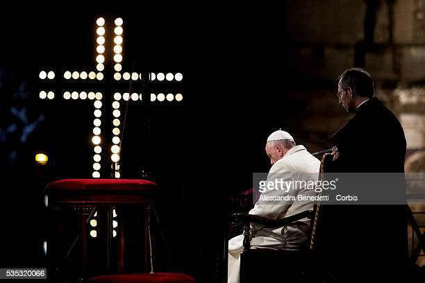 Pope Francis leads the Way of The Cross at Rome's Colosseum part of the Easter Holy week celebrations