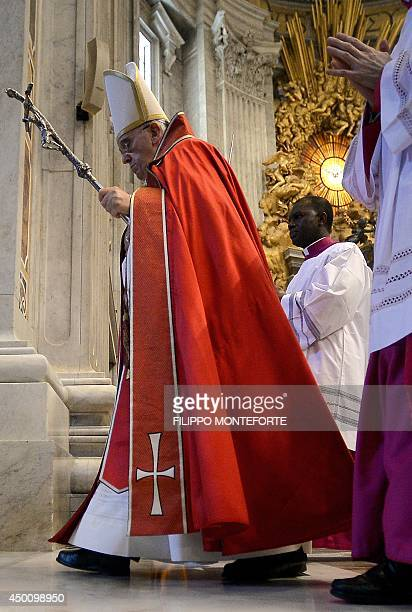 Pope Francis leaves after the funeral ceremony for late Indian Cardinal D Simon Lourdusamy in Saint Peter's Basilica at the Vatican on June 5 2014...