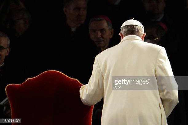 Pope Francis leaves after the Way of the Cross on Good Friday on March 29 2013 at the Colosseum in Rome Pope Francis presided over his first Good...