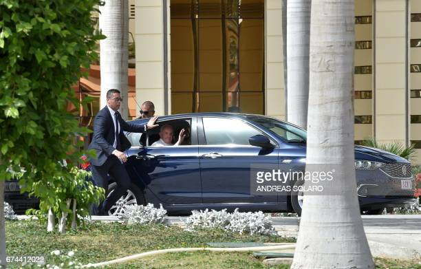 Pope Francis leaves Cairo's International Airport upon his arrival in the Egyptian capital on April 28 2017 Pope Francis began a visit to Egypt to...