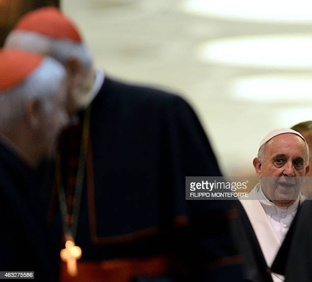 Pope Francis leaves Paul VI hall after taking part with cardinals and bishops in the Papal consistory before the nominations of new cardinals at the...