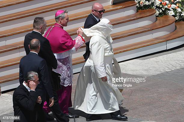 Pope Francis leaves St Peter's Square at the end of a canonisation ceremony on May 17 2015 in Vatican City Vatican Pope Francis canonized four women...