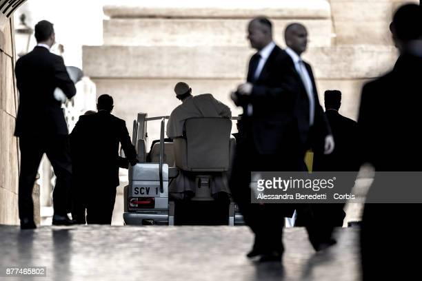 Pope Francis leaves St peter's Square at the end of his general weekly audience on November 22 2017 in Vatican City Vatican