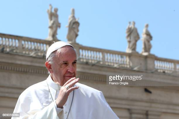 Pope Francis leaves St Peter's Square at the end of the Easter Mass on April 16 2017 in Vatican City Vatican The pontiff is due to visit Cairo on...