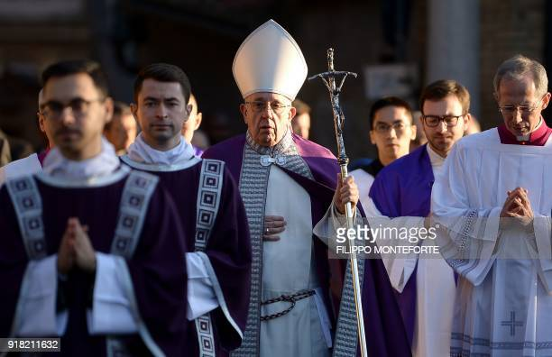 Pope Francis leaves the Basilica of SantAnselmo in a procession to the Basilica of Santa Sabina before Ash Wednesday mass which opens Lent the...