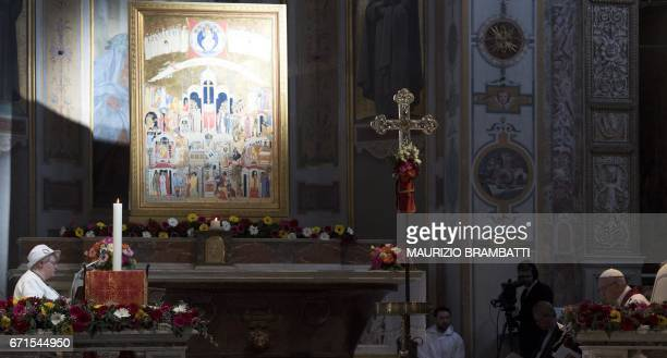 Pope Francis listens the testimony of Roselyne , the sister of French Father Jacques Hamel, assassinated in Saint-Etienne-du-Rouvray on July 18...