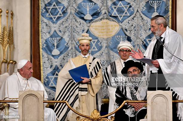 Pope Francis listens to chief Rabbi Riccardo Di Segni in Rome's main Synagogue on January 17 2016 Francis is the third pope to visit the synagogue...