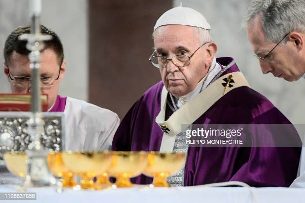 Pope Francis looks on as he celebrates the Ash Wednesday mass which opens Lent the fortyday period of abstinence and deprivation for Christians...