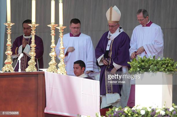 Pope Francis looks on during a mass for the people at El Caracol on February 14, 2016 in Ecatepec, Mexico. Pope Francis is on a five days visit in...