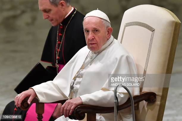 Pope Francis looks on during the weekly general audience on February 6 2019 at PaulVI hall in the Vatican