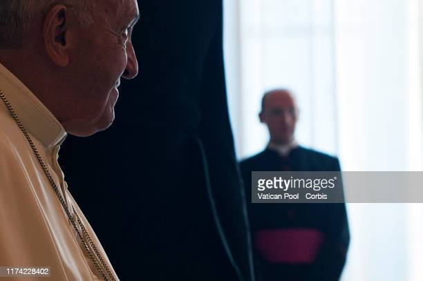 Pope Francis looks on following a meeting with President Of Serbia Aleksandar Vucic at The Vatican on September 12, 2019 in Vatican City, Vatican.
