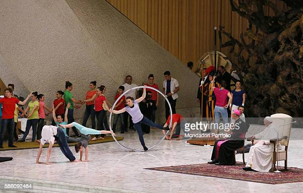 Pope Francis meeting circus performers members of circus clubs fairs and funfairs workers streets performers designers and puppeteers musicians and...