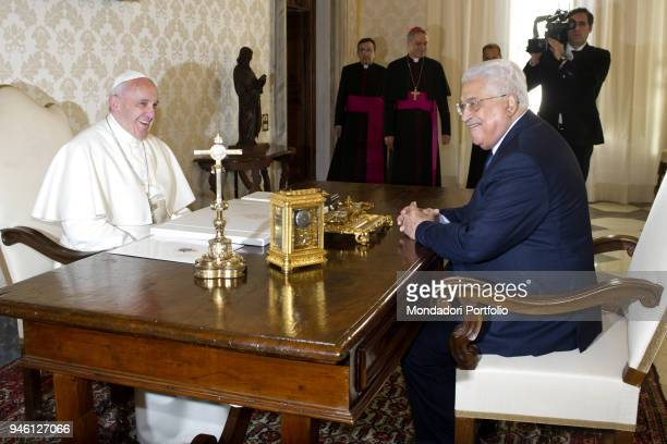 Pope Francis meeting the President of Palestine Abu Mazen in the Private Library of the Apostolic Palace Vatican City 14th January 2017