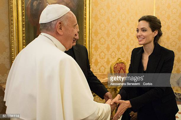 Pope Francis meeting with US actress and UNHCR ambassador Angelina Jolie Jan 8 2015 Jolie presented to Pope Francis her second movie Unbroken during...