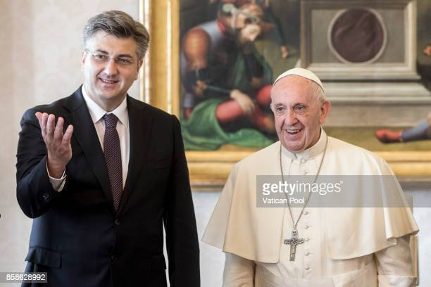 Pope Francis meets Croatia's Prime Minister Andrej Plenkovic during an audience at the Apostolic Palace on October 7 2017 in Vatican City Vatican...