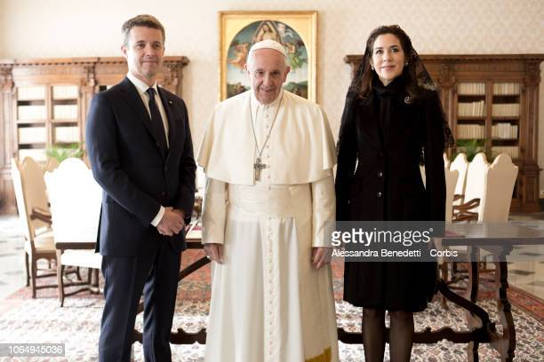 Pope Francis meets Crown Princess Mary and Crown Prince Frederik Of Denmark on November 08 2018 in Vatican City Vatican