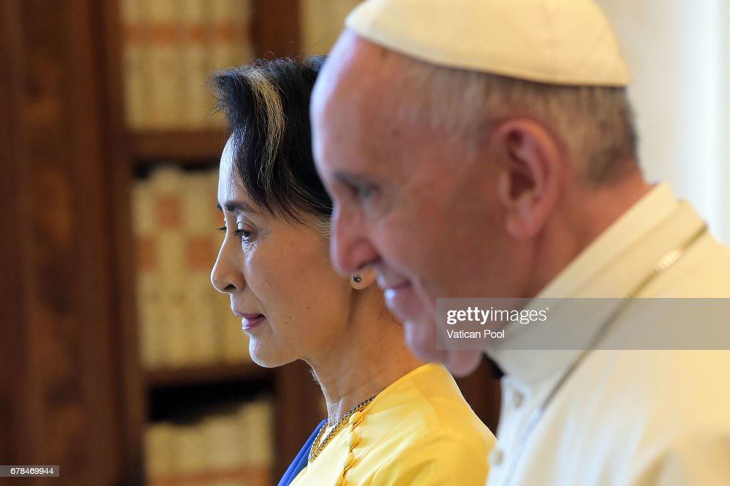 Pope Francis meets Daw Aung San Suu Kyi at the Apostolic Palace on May 4, 2017 in Vatican City, Vatican. The Holy See and the Republic of the Union of Myanmar, keen to promote bonds of mutual friendship, have jointly agreed to establish diplomatic relations at the level of Apostolic Nunciature, on behalf of the Holy See, and Embassy, on the part of the Republic of the Union of Myanmar.