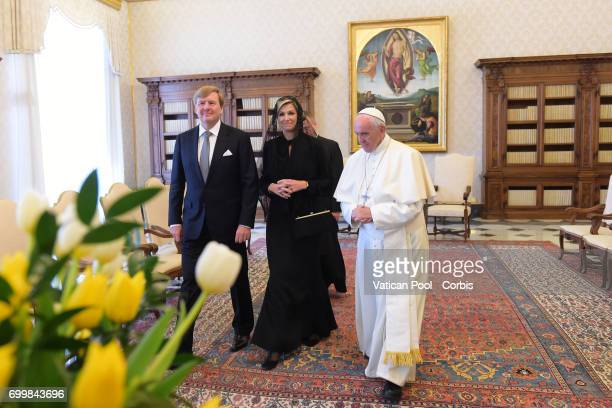 Pope Francis meets Dutch King WillemAlexander and Queen Maxima at the Apostolic Palace on June 22 2017 in Vatican City Vatican