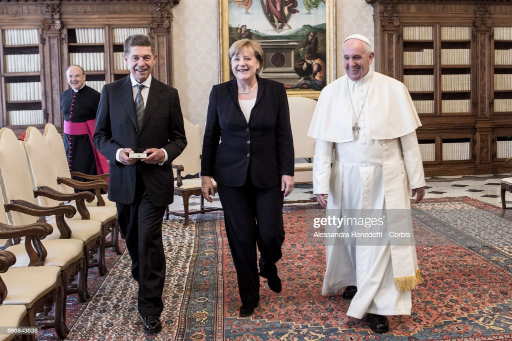 Pope Francis Meets German Chancellor Angela Merkel on June 17, 2017 in Vatican City, Vatican. (Photo by Alessandra Benedetti - Corbis/Corbis via Getty Images) Joachim Sauer;