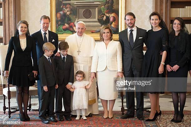 Pope Francis meets Grand Duchess Maria Teresa Grand Duke Henri of Luxembourg Countess Stephanie de Lannoy Prince Felix of Luxembourg Claire Margareta...