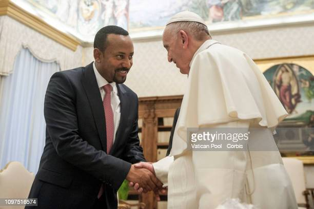 Pope Francis meets H.E. Abiy Ahmed, Prime Minister of Ethiopia at The Vatican on January 21, 2019 in Vatican City, Vatican.