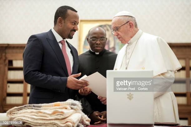 Pope Francis meets HE Abiy Ahmed Prime Minister of Ethiopia at The Vatican on January 21 2019 in Vatican City Vatican