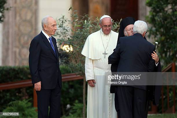 Pope Francis meets Israeli President Shimon Peres Palestinian President Mahmoud Abbas and Patriarch Bartholomaios I for a peace invocation prayer at...