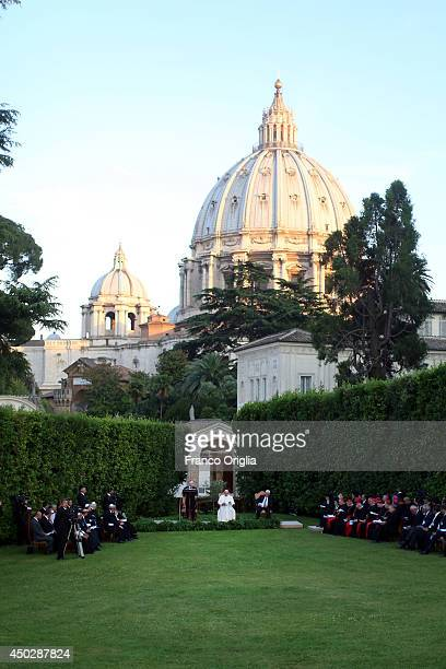 Pope Francis meets Israeli President Shimon Peres Palestinian President and Mahmoud Abbas for a peace invocation prayer at the Vatican Gardens on...