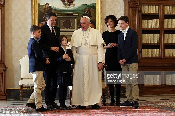 Pope Francis meets Italian Prime Minister Matteo Renzi first lady Agnese Landini and their children Francesco Emanuele and Ester at his private...