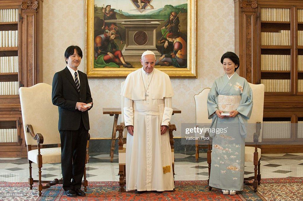 Pope Francis Meets Prince Akishino : News Photo