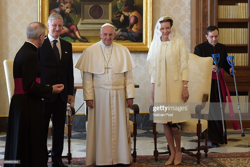 Pope Francis Meets King and Queen of Belgium : News Photo