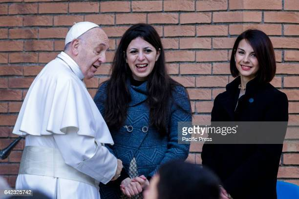 Pope Francis meets Nour Essa a Syrian refugees arrived in Rome with Pope Francis from the Greek island of Lesbos at the Roma Tre University one of...