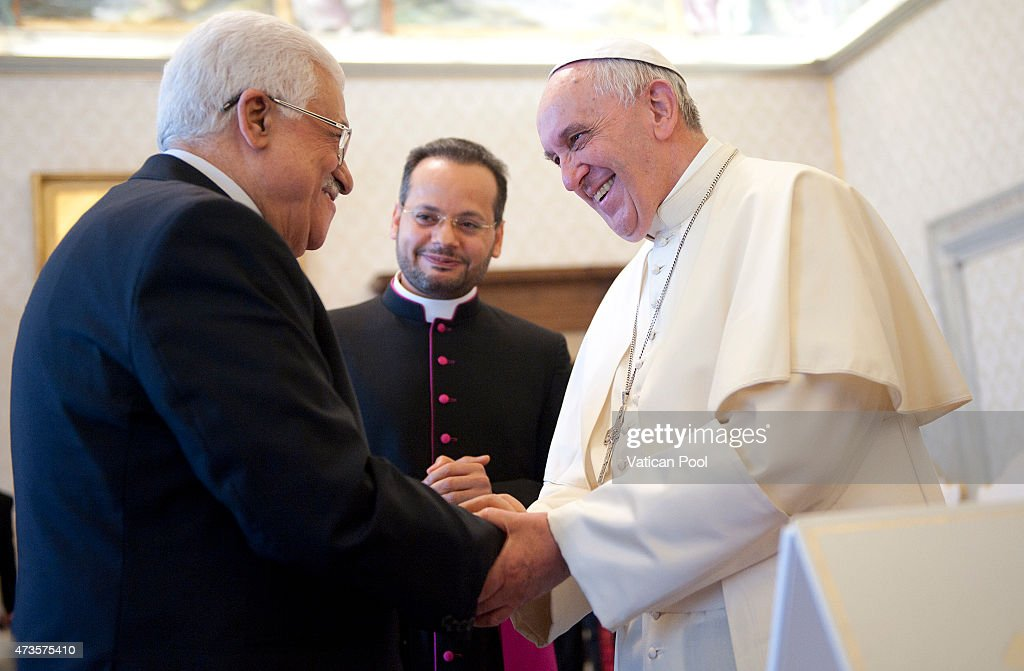 Pope Francis meets Palestinian President Mahmoud Abbas also known as Abu Mazen during an audience at the Apostolic Palace on May 16, 2015 in Vatican City, Vatican. The Vatican on Wednesday officially recognized the state of Palestine in a new treaty finalized just days before the Catholic Church is set to declare two 19th century Palestinian nuns as saints.