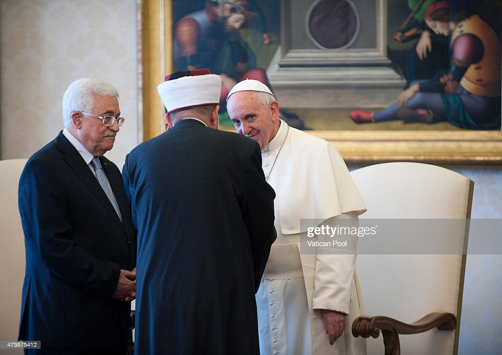 Pope Francis meets Palestinian President Mahmoud Abbas also known as Abu Mazen and his delegation during an audience at the Apostolic Palace on May 16, 2015 in Vatican City, Vatican. The Vatican on Wednesday officially recognized the state of Palestine in a new treaty finalized just days before the Catholic Church is set to declare two 19th century Palestinian nuns as saints.