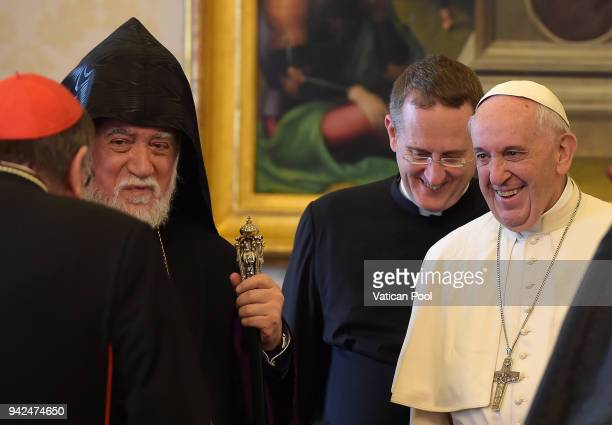 Pope Francis meets Patriarch Aram I at the Apostolic Palace on April 5 2018 in Vatican City Vatican Following the meetings the Pope and the Armenian...