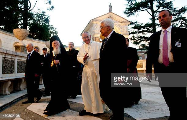Pope Francis meets Patriarch Bartholomaios I Israeli President Shimon Peres and Palestinian President Mahmoud Abbas for a peace invocation prayer at...