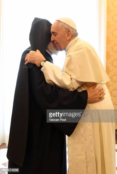Pope Francis meets Patriarch Karekin II at the Apostolic Palace on April 5 2018 in Vatican City Vatican Following the meetings the Pope and the...