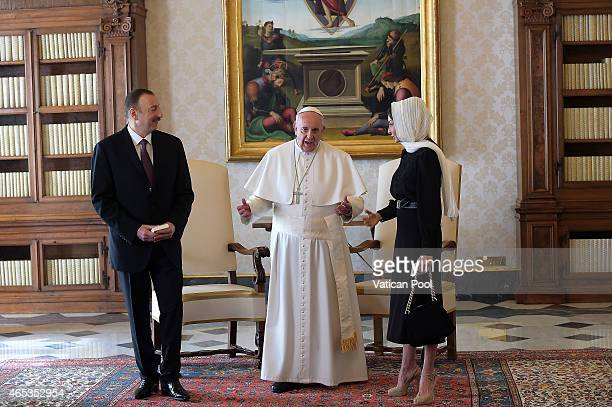 Pope Francis meets President of Azerbaijan Ilham Aliyev and his wife Mehriban Aliyeva at his private library in the Apostolic Palace on March 6 2015...