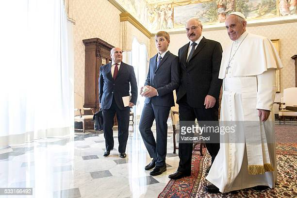 Pope Francis meets President of Belarus Alexander Lukashenko and his son Nikolai Lukashenko during a private audience at the Apostolic Palace on May...