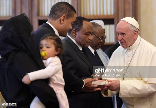 Pope Francis Meets President of Cameroon Paul Biya and wife Chantal on March 23 2017 in Vatican City Vatican