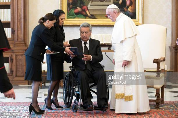 Pope Francis meets President of Ecuador Lenin Moreno Garces and his wife Rocio Gonzalez Navas at the Apostolic Palace on December 16 2017 in Vatican...