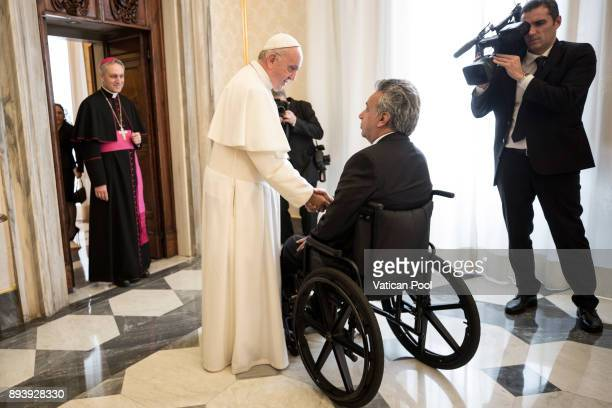 Pope Francis meets President of Ecuador Lenin Moreno Garces at the Apostolic Palace on December 16 2017 in Vatican City Vatican During the meeting...