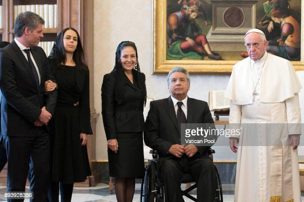 Pope Francis meets President of Ecuador Lenin Moreno Garces his wife Rocio Gonzalez Navas and his delegation at the Apostolic Palace on December 16...