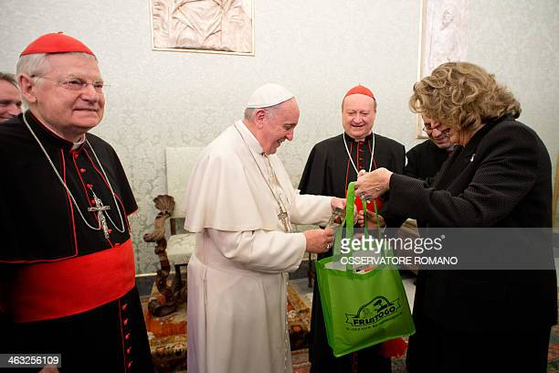 Pope Francis meets President of Expo 2015 Diana Bracco flanked by cardinals Gianfranco Ravasi and Angelo Scola during a private audience at the...